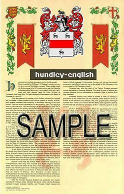 HUNDLEY Armorial Name History - Coat of Arms - Family Crest GIFT! 11x17