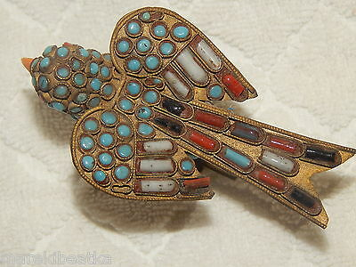 Antique Tibetan Chinese Brass Bird Figurine With Turquoise And Coral Beads