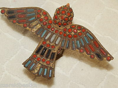 Antique Chinese Tibetan  Brass Bird Figurine W / Coral And Turquoise Beads