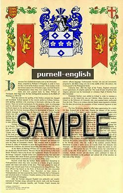 PURNELL Armorial Name History - Coat of Arms - Family Crest GIFT! 11x17