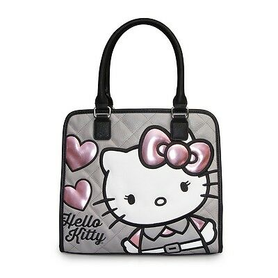 NWT Loungefly Hello Kitty Quilted Pink/Grey Hearts Appliqued Faux Leather Tote