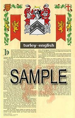 TURLEY Armorial Name History - Coat of Arms - Family Crest GIFT! 11x17