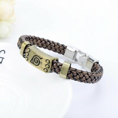 Naruto Shippuden Hidden Leaf Village Metal Leather Bracelet Anime Manga Cosplay