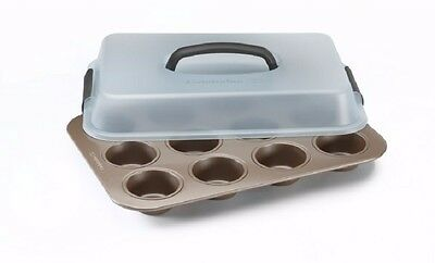 Calphalon 12 Cup Covered Cupcake Pan Toffee Blue 1893200 Simply Nonstick Handle