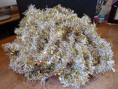 Vintage Christmas Tree Tinsel Garland, Gold & White With Gold Stars, 50 Yards