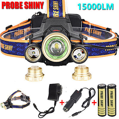 ZOOM 15000lm Headlamp CREE XM-L 3 x T6 LED Headlight 18650 Light Charger Battery