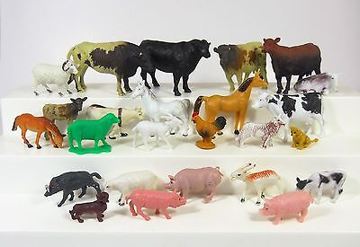 Plastic Farm Animals HUGE Lot of (25) Cows Horses Pigs Etc FREE Shipping Lot 9