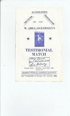 Blackburn Rovers v Eckersley X1 Bill Eckersley Testimonial Programme 1960/61
