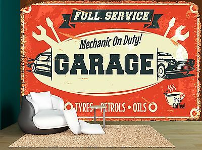 Retro Car Service Sign Old Garage Wall Mural Photo Wallpaper GIANT WALL DECOR