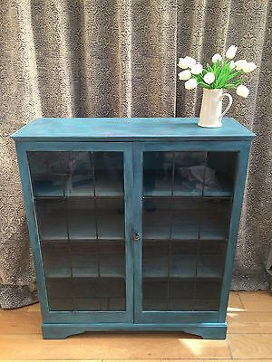 Vintage Painted Glass Front Display Cabinet