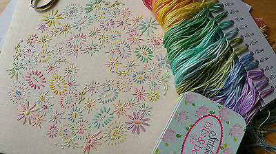 Beginners Embroidery Kit: Beginner Blossoms Pastel :Beautiful Kits By Maggie Gee