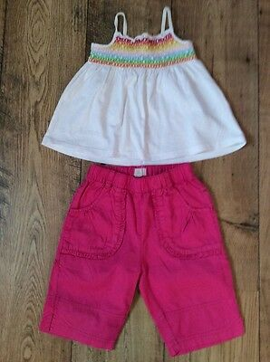 Pink Designer Cropped Trousers & White Smocked Top 2 Yrs