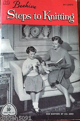 Vintage 1950's Beehive Steps To Knitting Instruction & Pattern Book
