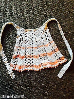 Vintage Coral & White Hand Crocheted Childs Half Apron
