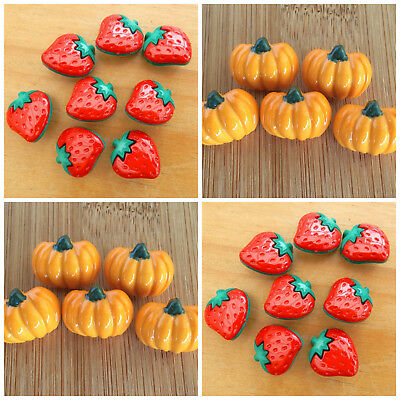 5 X  novelty fruit buttons strawberry orange or banana shank on back of button