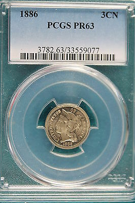 1886 PCGS PR63 Three Cent!! #A1920