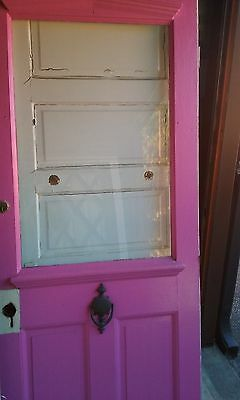 Exterior Antique Wood Door Large Pane Glass With Dental Work Pink!!!