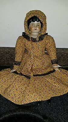 """VINTAGE 16"""" PORCELAIN head ARMS LEGS HAND MADE CLOTH BODY Pairie Doll. 1960"""