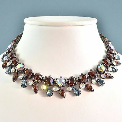 Vintage Necklace Unsigned Claudette 1950s Blue Amber AB Crystal Bridal Jewellery