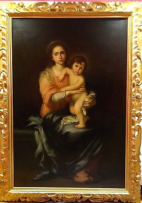 Huge Fine 17th 18th Century Spanish Old Master Madonna & Child Antique Painting