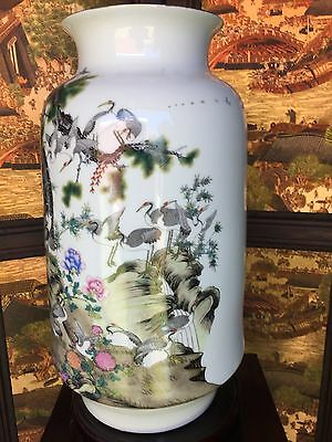 Reproduced Chinese Antique Vase - Hand-painted Pine Trees and Cranes