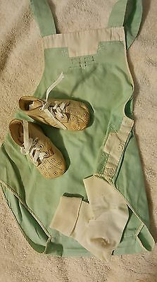 Antique Handmade Baby Romper, sz 3,  Hand stitched & Leather Shoes, ADORABLE!!