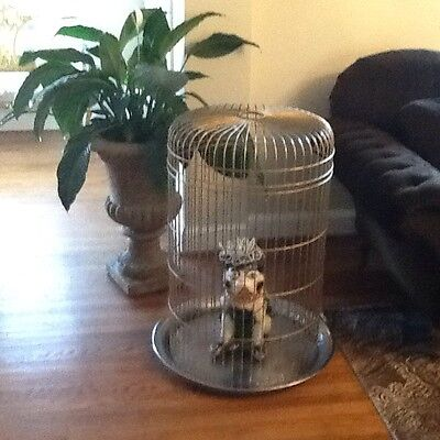 """Large Vintage Parrot bird  Cage 40"""" tall - Garden home decor chandelier stand"""