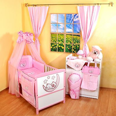NEW PINK AND WHITE COT-BED 140x70 WITH A 12-PIECE BEDDIG NR 6
