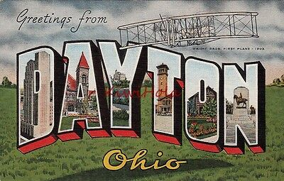 Postcard Large Letters Greetings From Dayton Ohio OH
