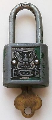 Vintage The Eagle Lock Company Padlock W/key - Usa
