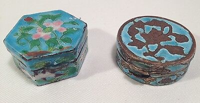 Vtg Metal Enamel Pill Boxes Hinged Hand Decorated Etched