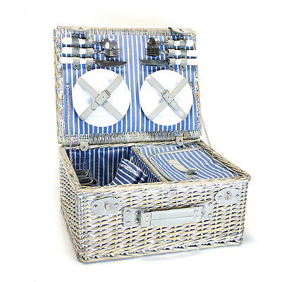 Yellowstone 4 Person Wicker Picnic Basket With Cooler Compartment Garden Outdoor
