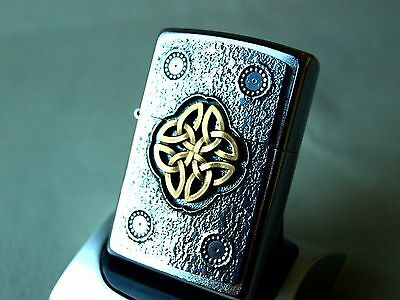 Rare Zippo Lighter - CELTIC KNOT - TWO TONE - GOLD and CHROME ZIPPOS ZIPO ZIPOS