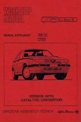 ALFA ROMEO 75 Shop manual supplement for models with a catalytic convertor car