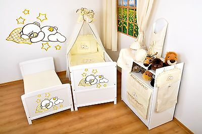 NEW WHITE COT-BED 140 x 70 WITH A 12-PIECE BEDDING.nr 18.