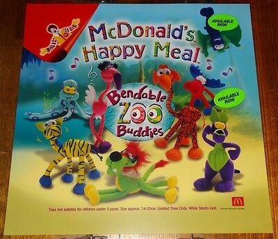 Mcdonalds In Store Promotional Translite Happy Meal Sign Bendable Buddies
