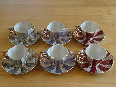 Beautiful set of six Japanese fine china Cups and Saucers