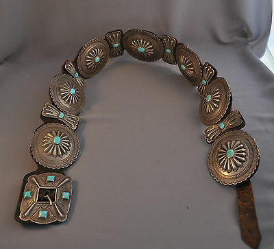 "LARGE OLD NAVAJO SILVER CONCHO BELT - TURQUOISE - CIRCA 1930s - 41"" LONG"