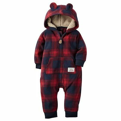 NEW Carter's Baby Boys' Hooded/Eared Jumpsuit Mountain Wilderness Guide Navy 18M
