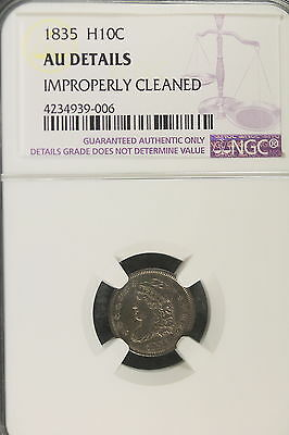 1835 NGC AU Details Improperly Cleaned Capped Bust HALF Dime!! #B1361