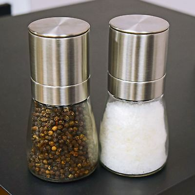 Set of 2 Salt & Pepper Grinder Mill Stainless steel w/ Clear Glass Spice Shaker