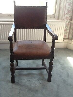 Leather Antique throne style oak chair leather