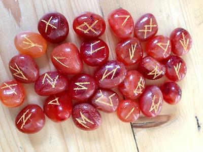 NEW CARNELIAN RUNE STONES in Jute Pouch. Nordic Viking Divination Pagan Crystal