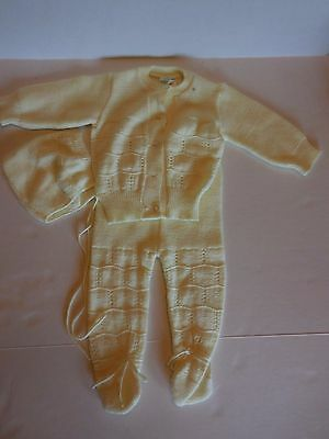 Vintage Baby Yellow Knit Outfit Cardigan Hat Long Pants