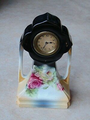 Art Nouveau Ceramic Frame Brass Mantel Clock