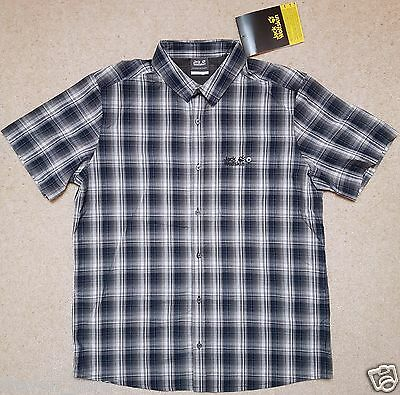 Jack Wolfskin Mens Fairford Hiking Shirt, Night Blue Checks, L Large, NEW & TAGS