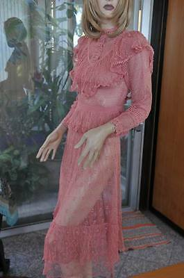Lim's Vintage Cotton Hand Crochet Skirt and Top Set Rose, Large