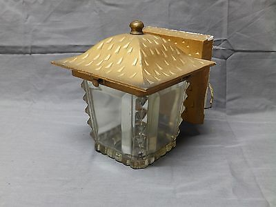 Vtg Cast Aluminum Porch Sconce Heavy Glass Globe Old Mid Century Light 2013-16 • CAD $189.00