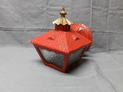 Vtg Cast Aluminum Red Gold Porch Sconce Heavy Glass Mid Century Light 2016-16