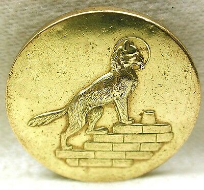 Antique Brass Button Cat Climbing Stairs to Cream w/ Full Moon - 1 & 1/8""